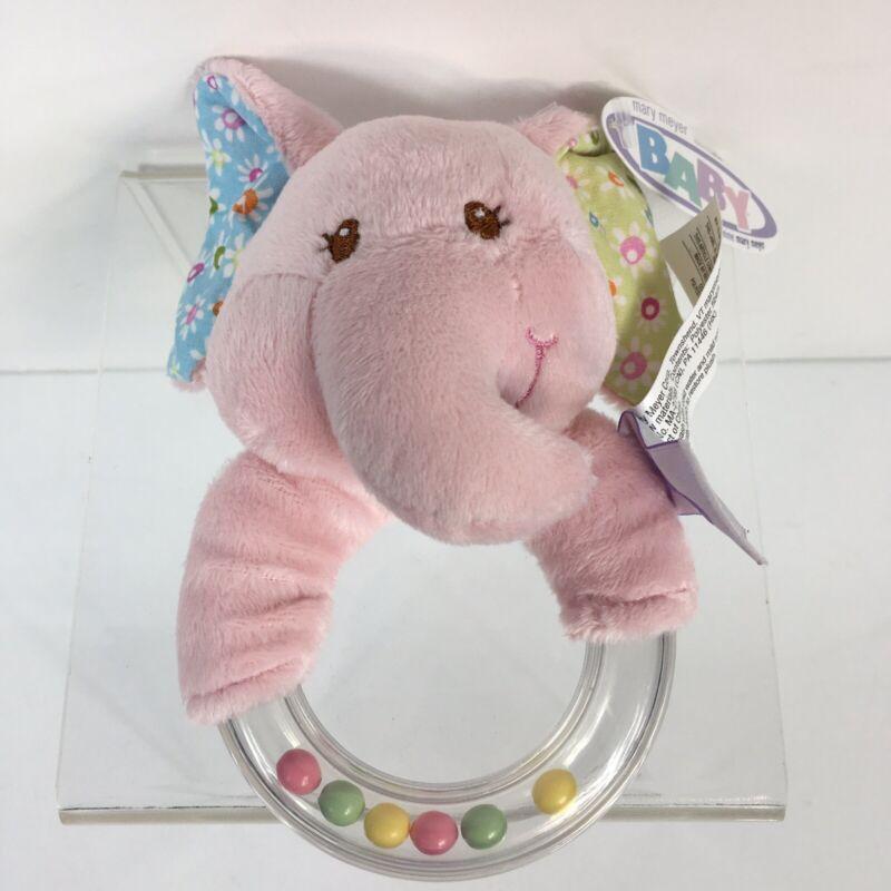 Mary Meyer Baby Pink Elephant Plush Rattle New D7