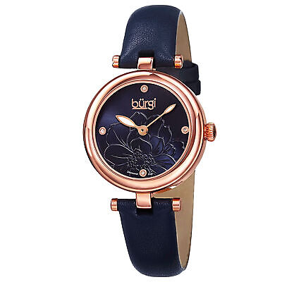 Women's Burgi BUR128BU Embossed Flower Diamond Dial Genuine Leather Strap Watch