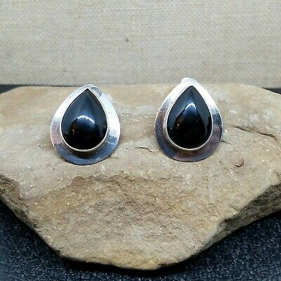 Rare Vintage Ben J. Chavez Sterling Silver 925 Onyx Teardrop Clip Earrings 20.6g for sale  Cleveland