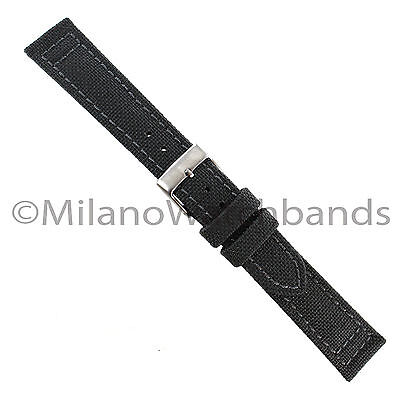 18mm Hadley Roma Gray Genuine Cordura Canvas Padded Stitched Mens Watch Band 850
