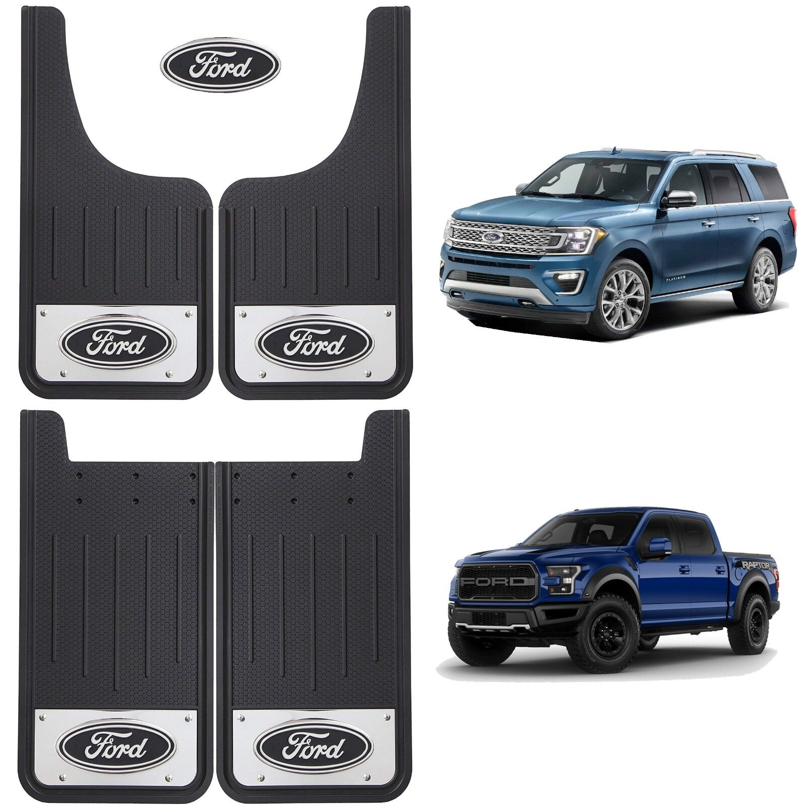 Set of 2 Mud Splash Guards Flaps Ford Oval Logo Car Truck SUV Universal Fit