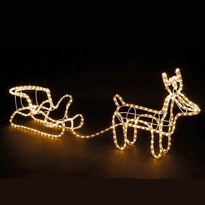 Large Christmas Reindeer & Sleigh Light Up Outdoor Garden Rope Decoration ()