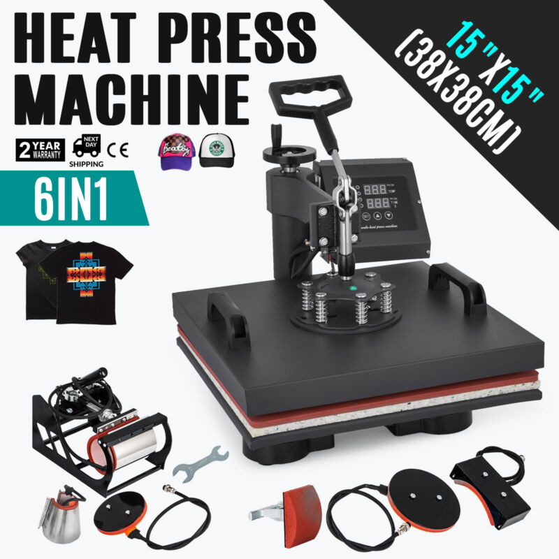 """6 in 1 Heat Press Machine For T-Shirts 15""""x15"""" Combo Kit Sublimation Swing away"""