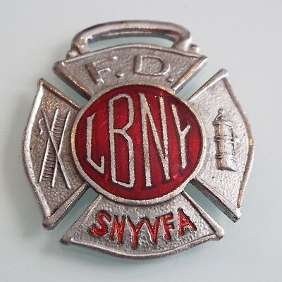 Antique LBNY Long Beach New York FD Volunteer Fire Department Watch Fob SNYVFA