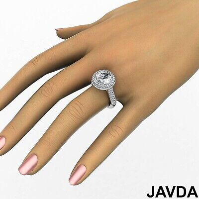 3 Row Shank Double Halo Round Diamond Engagement Ring GIA F SI1 Clarity 2.5 Ct 5