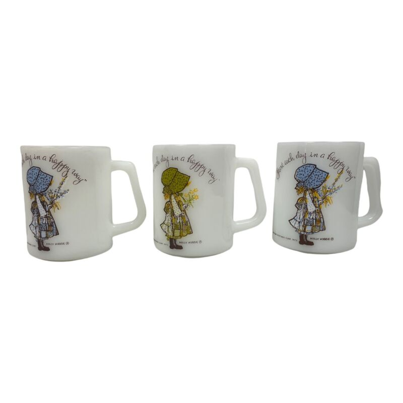 Vtg Lot of 3 Holly Hobbie Milk Glass Mugs Good Condition