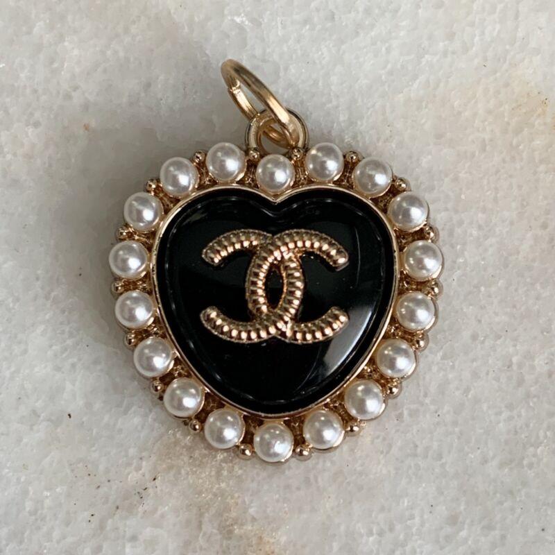 Chanel Heart Black Enamel Zipper Pull Charm Stamped Auth 22 mm