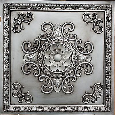PL08 Faux paint tin 3D antiqued silver ceiling tiles decor wall panels10tile/lot