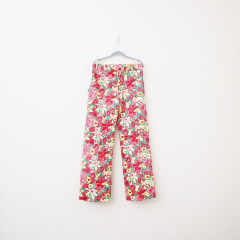 VTG 1970s Lilly Pulitzer The Minnie Girls 14 Red Flower Print Bell Bottoms