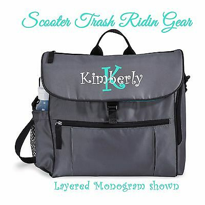 DIAPER BAG personalized baby tote Grey Gray Aqua blue monogrammed NEW