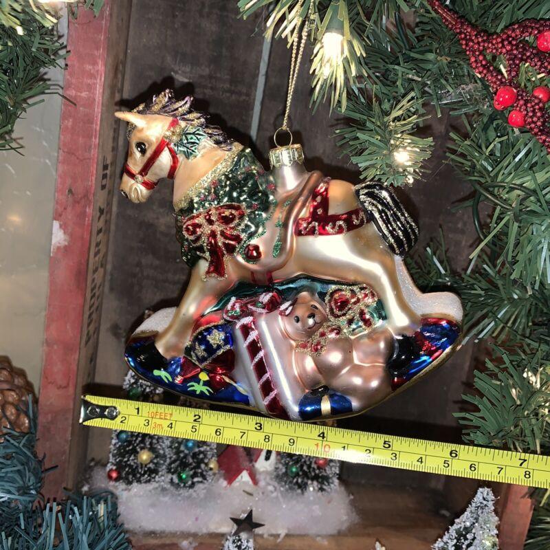 Holiday Glass Christmas Ornaments ROCKING HORSE Toys Santa Bear Bunny - Mint
