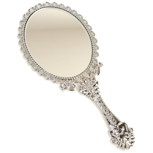 Vintage Style Chic Beauty Cosmetic Make-up Vanity HandHeld Mirror Small Silver