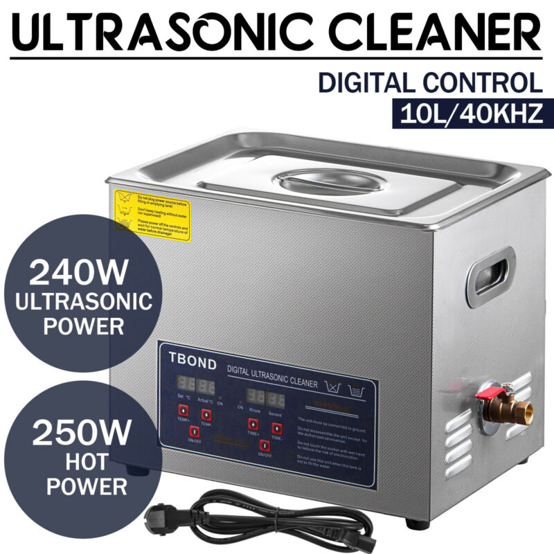 Commercial Ultrasonic Cleaner 10L Digital Industry Heated Heater w/Timer