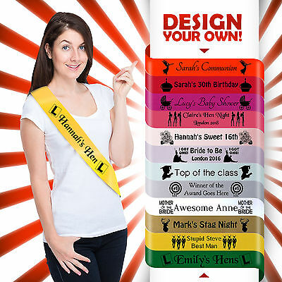 PERSONALISED HEN PARTY NIGHT DO SASH 18TH 21ST 30TH BIRTHDAY GIFT IDEA* (Anniversary Party Ideas)