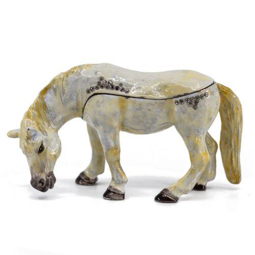 "Bejeweled Enameled Pewter White Pony Horse Trinket Box With Crystals 4.25"" Long"