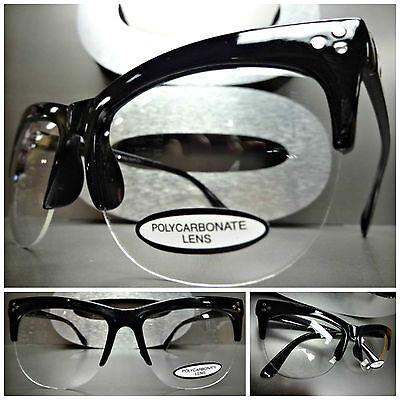 Neu Klassisch Vintage Retro Stil Klar Gläser Brillen Halb Schwarz Mode Rahmen