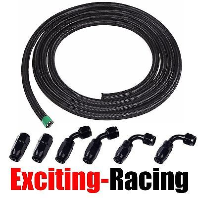 6AN 12Ft Black Stainless Steel Braided Fuel Line + 6Pcs Swivel Fitting Hose Set