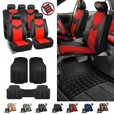 Car Parts - PU Leather Car Seat Covers & Black All Weather Floor Mats - Full Interior Set