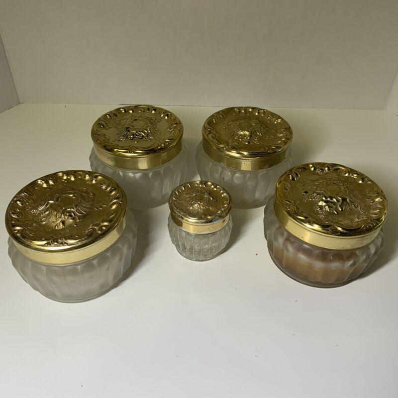 5 Vintage Glass Vanity Jars Gold Tone Metal Ornate Lids  From Estée Lauder