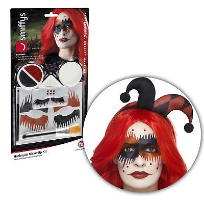Halloween SFX Harlequin Jester Tattoo Face Paint Makeup Kit Set Accessory Harley