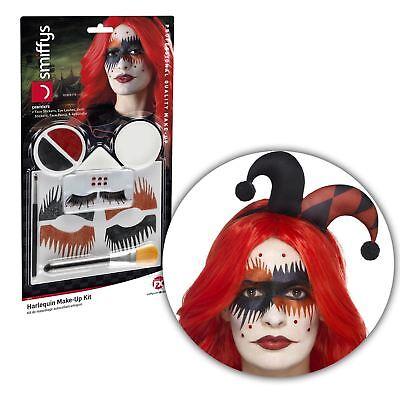 Halloween SFX Harlequin Jester Tattoo Face Paint Makeup Kit Set Accessory Harley (Jester Halloween Makeup)
