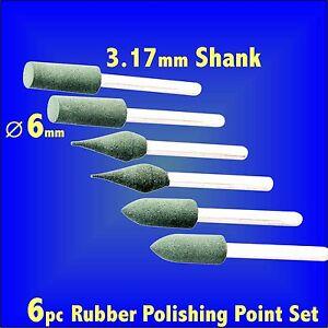 6pc RUBBER POLISHING POINT SET tip hobby rotary tool wheel mop fits Dremel