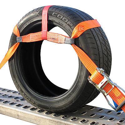 4x Auto Transport 50mm Spanngurt Zurrgurt PKW Anhänger Radsicherung Reifengurt 3