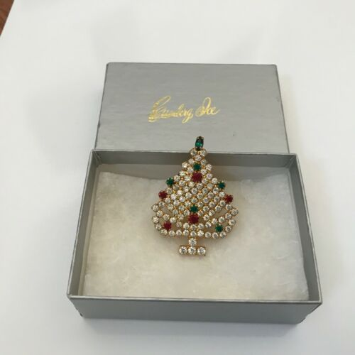 Eisenberg Ice Gold-Tone Crystal Christmas Tree Brooch/Pin..Vintage