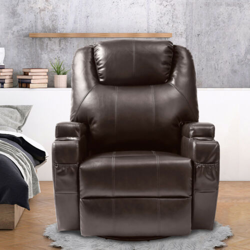 Phenomenal Details About Brown Massage Recliner Sofa Leather Vibrating Lounge Chair W Cup Holder Theyellowbook Wood Chair Design Ideas Theyellowbookinfo