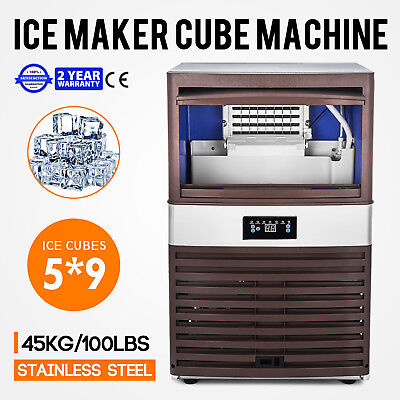 Stainless Steel Commercial Ice Maker Built-in Undercounter Freestand 100lb24hr