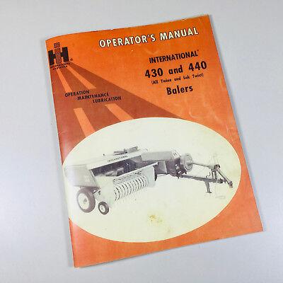 Ih International 430 440 Baler Service Operators Owner Adjustment Manual Knotter