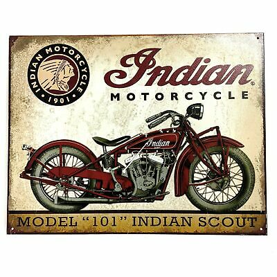 Vintage Repro Indian Motorcycle Scout Model 101 Metal Tin Sign Garage Wall Decor
