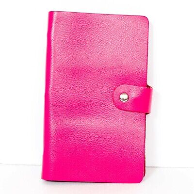 Pink Business Card Holder Binder 30 Pages 90 Cards Faux Suede