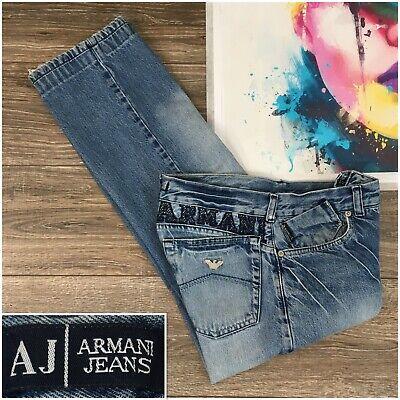Armani Jeans Vintage Wash Mens Denim Blue Jeans Straight Leg Button Fly Size 31