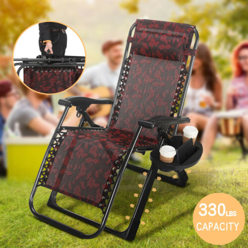 HeavyDuty Reclining Folding Zero Gravity Chair Beach Garden