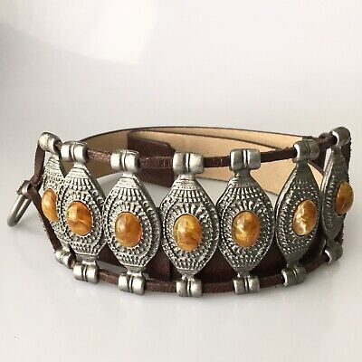 Chicos Statement Belt Leather And Metal Front Size S/M Steampunk Cosplay