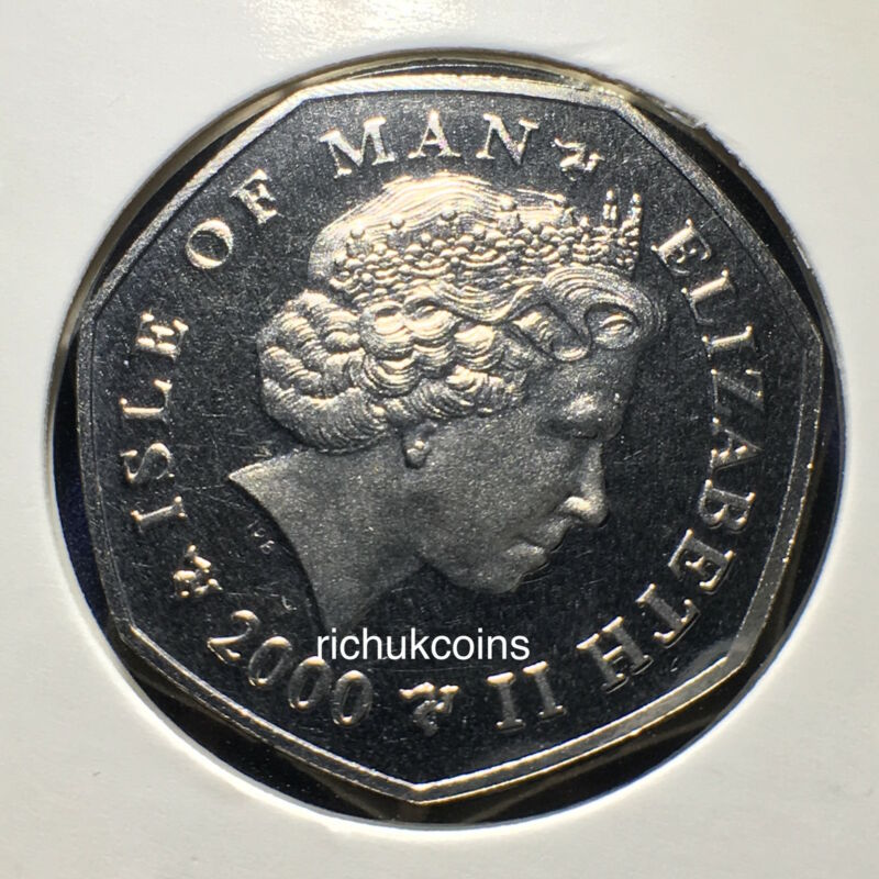 2000 IOM Xmas Diamond Finish 50p Coin (no die letters)