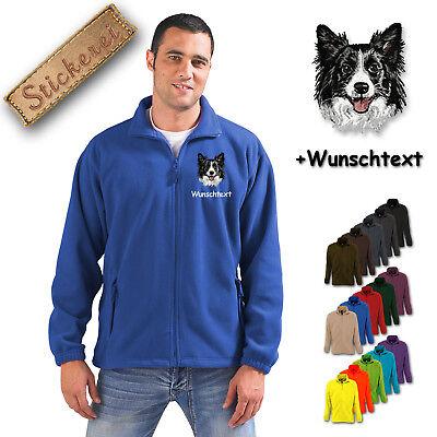 Collie Embroidered Fleece - Fleece Jacket Embroidered Embroidery Dog Border Collie M1 + Desired Text