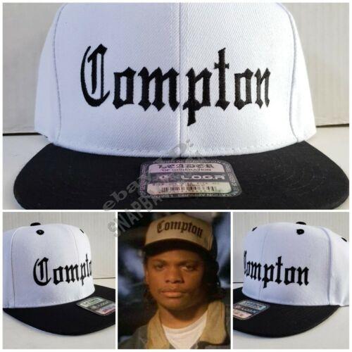 RARE White Cap Black Brim Eazy E Compton Snapback Hat NWA