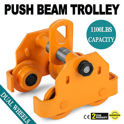 Brand New 12 Ton Push Beam Trolley Fits Straight Or Curved I-beams