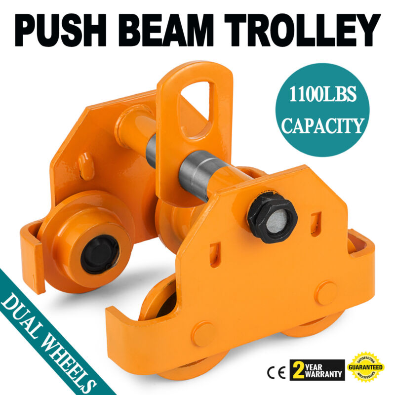 Brand New 1/2 Ton Push Beam Trolley Fits Straight Or Curved I-Beams