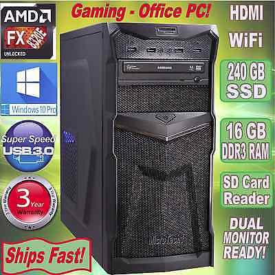 AMD FX 8320e 8-Core Custom Desktop PC~16GB DDR3~240 GB SSD~HDMI~Win 10 Pro