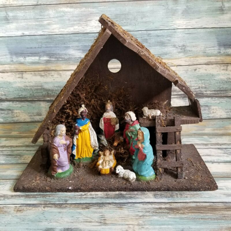 Vintage Chalkware Nativity Set Wooden Creche Manger Made In Italy