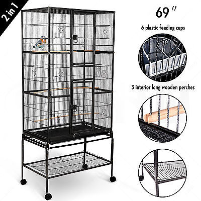 "69"" Large Bird Pet Swivel Cage Parrot Cockatiel Conure Chinchilla Stand 2 Doors"