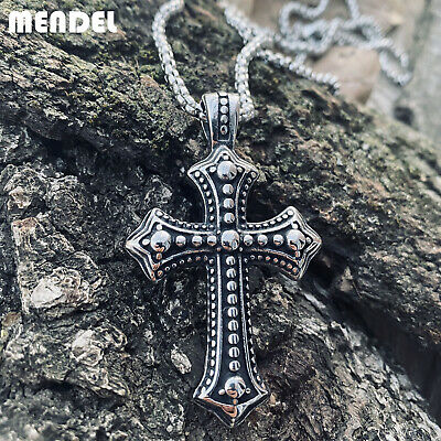 MENDEL Mens Biker Catholic Cross Pendant Necklace For Men Ashes Stainless Steel