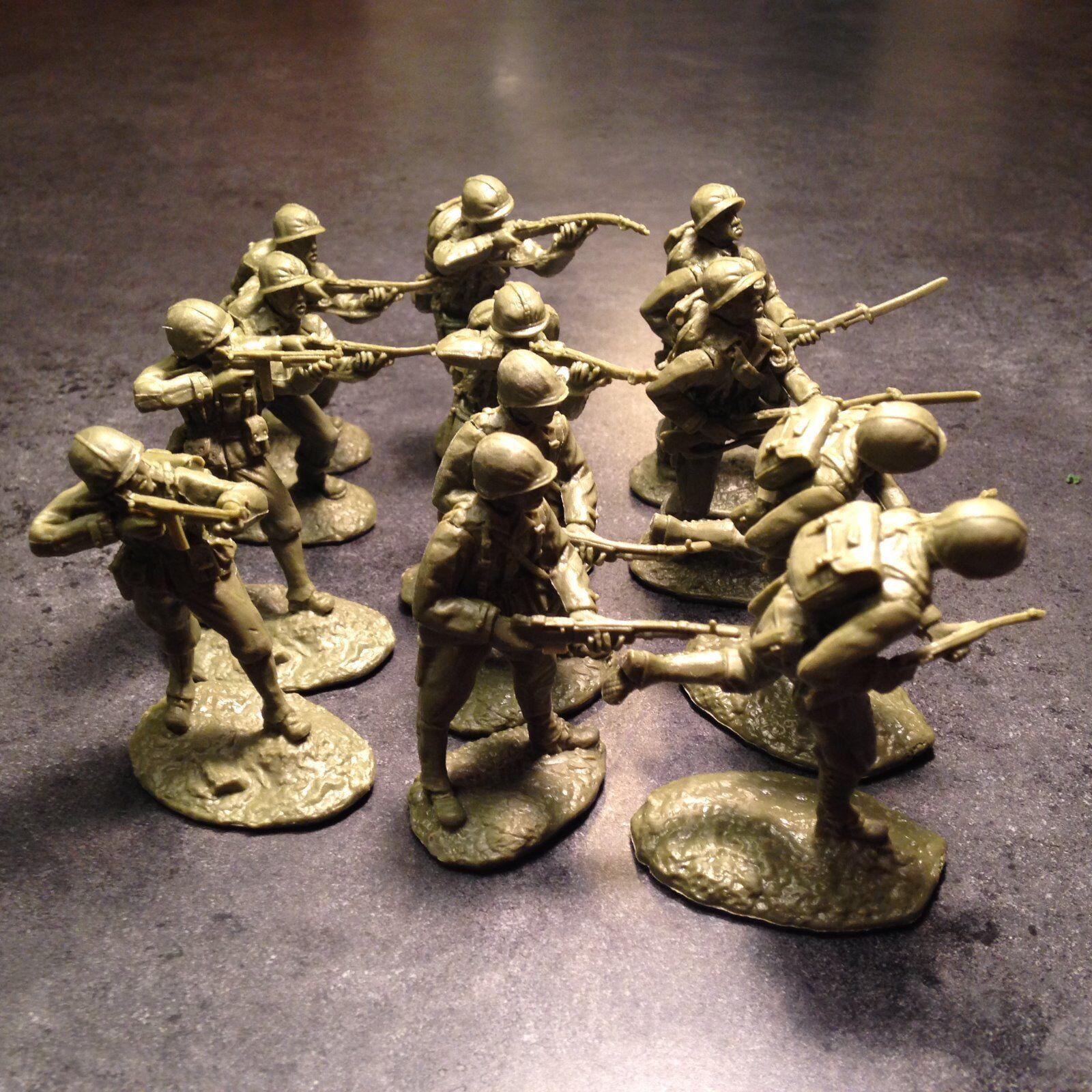 Conte TSSD 1//32 scale plastic figure WW2 US marines OD green Austin Miniatures