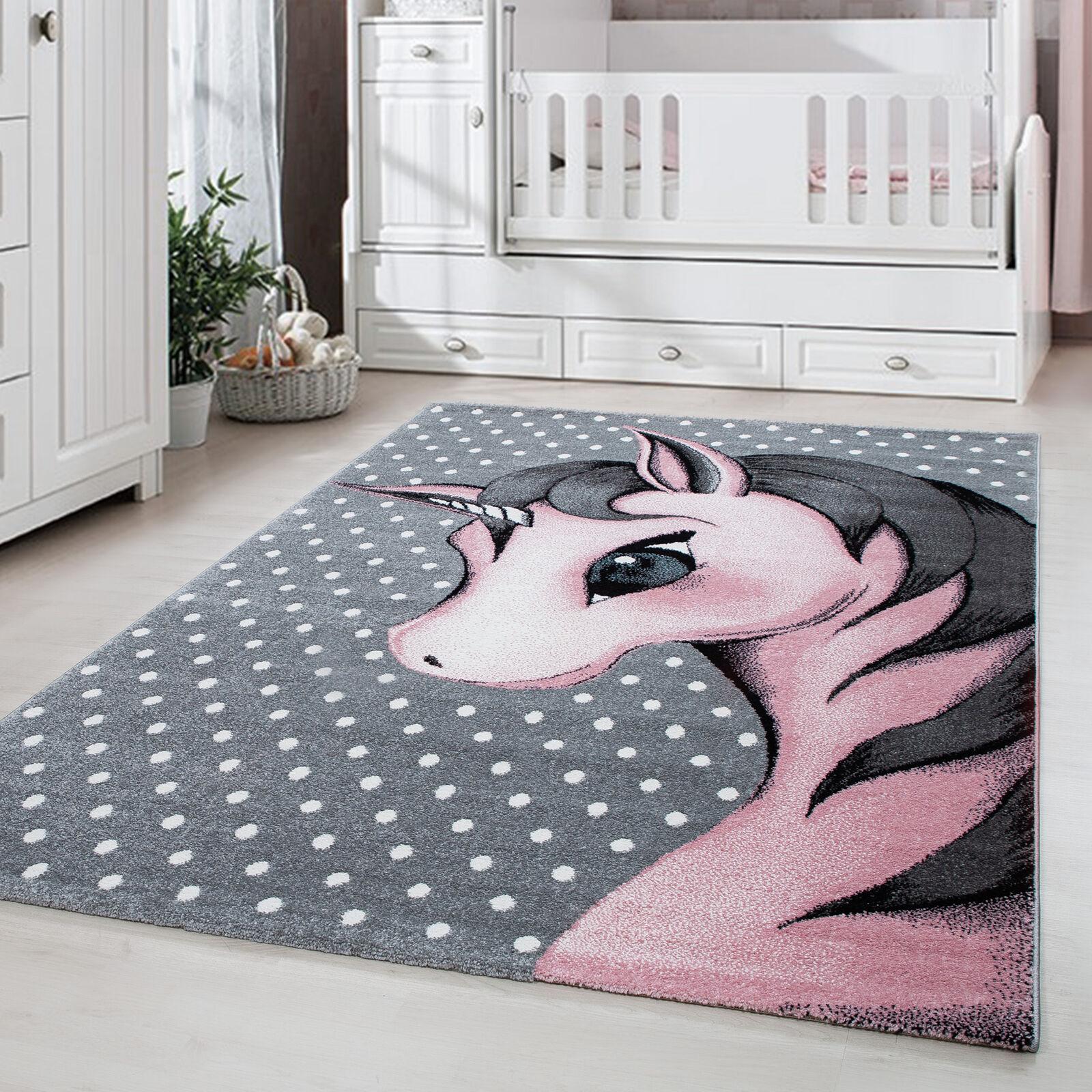 Kinderteppich Kinderzimmer Babyzimmer Einhorn Design Grau Pink Weiß Oeko Tex