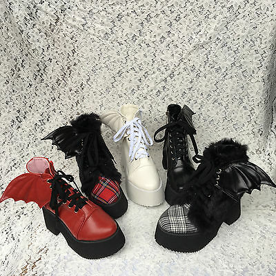 Lolita Punk Tea Party Badydoll Wings Cosplay Bootie Shoes Custom made 5221