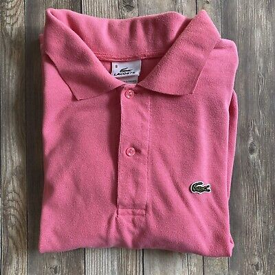 LACOSTE Mens Size 8 XXL 5191L Pink Coral Short Sleeve Polo Shirt