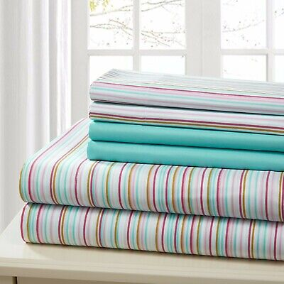 SHEET SET QUEEN 6 PIECE COTTON PERCALE PRINT SOFT DEEP POCKET  FREE WASH CLOTH ()